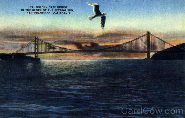 Golden Gate Bridge, In The Glory of the Setting Sun San Francisco California