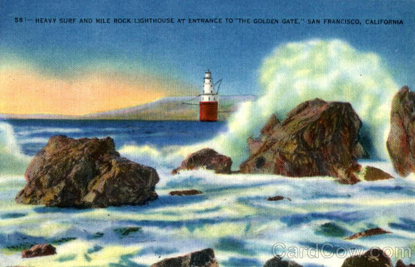 Heavy Surf And Mile Rock Lighthouse At Entrance to the golden gate San Francisco California