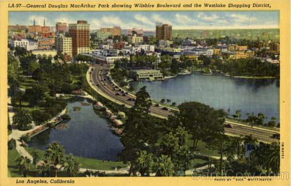 General Douglas MacArthur Park Showing Wilshire Boulevard and the Westlake Shopping District Los Angeles