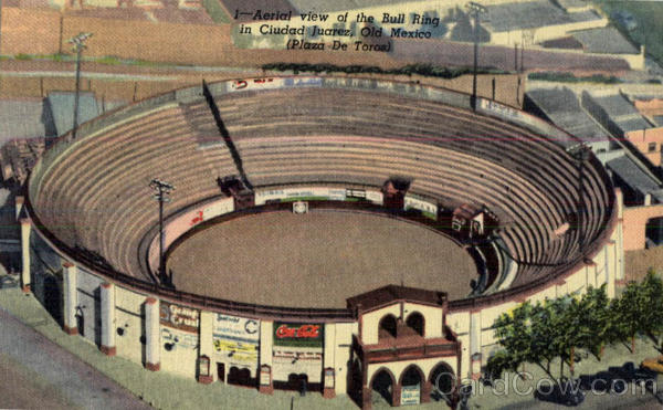 Aerial view of the Bull Ring in Ciudad Juarez Mexico