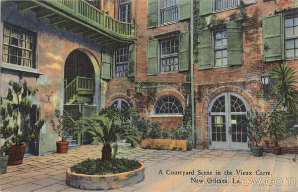 A Courtyard Scene In The Vieux Carre New Orleans Louisiana