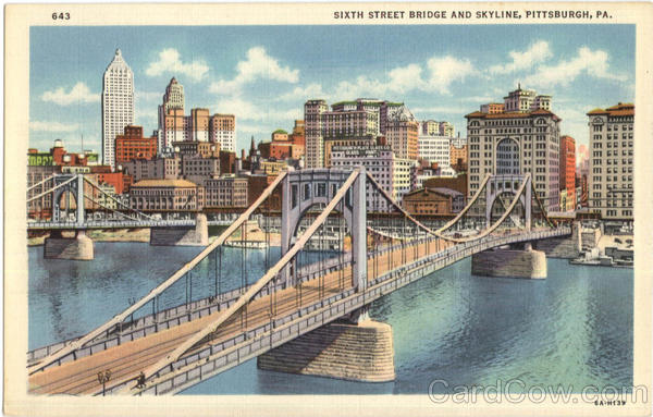 Sixth Street Bridge And Skyline Pittsburgh Pennsylvania