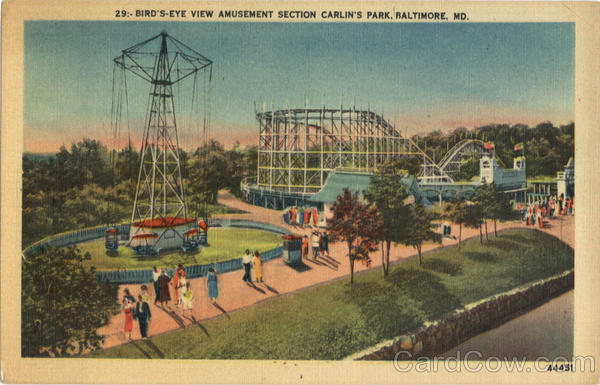 Bird's Eye View Amusement Section Carlin's Park Baltimore Maryland