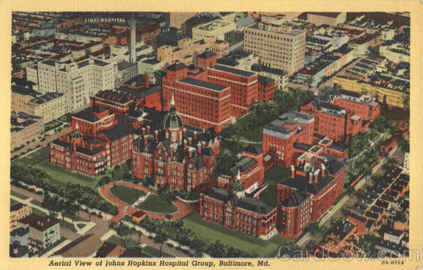 Aerial View Of Johns Hopkins Hospital Group Baltimore Maryland