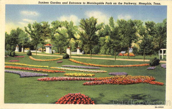 Sunken Garden And Entrance To Morningside Park On The Parkway Memphis Tennessee