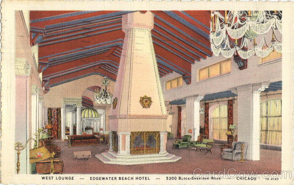 West Lounge Edgewater Beach Hotel, 5300 Block Sheridan Road Chicago Illinois