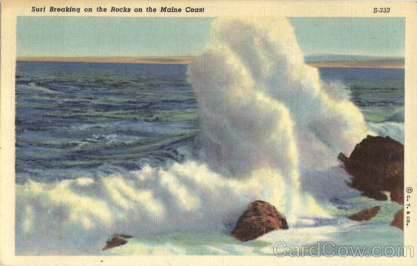 Surf Breaking On The Rocks On The maine Coast Scenic