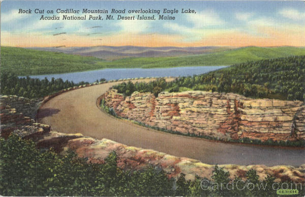 Rock Cut On Cadillac Mountain Road Overlooking Eagle Lake, Acadia National Park Mt. Desert Island Maine
