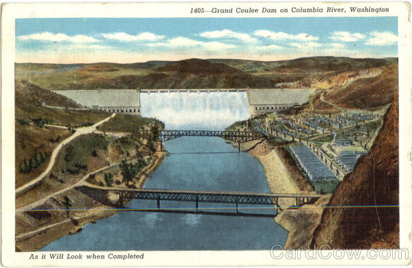 Grand Coulee Dam On Columbia River Washington
