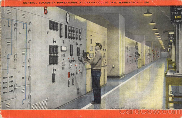 Control Board In Powerhouse At Grand Coulee Dam Washington