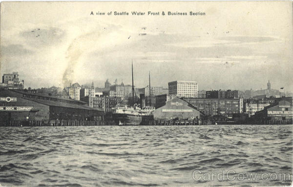 A View Of Seattle Water Front And Business Section Washington