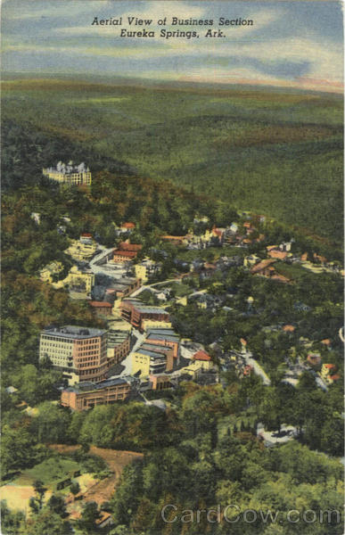Aerial View Of Business Section Eureka Springs Arkansas