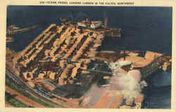 Ocean Vessel Loading Lumber In The Pacific Northwest