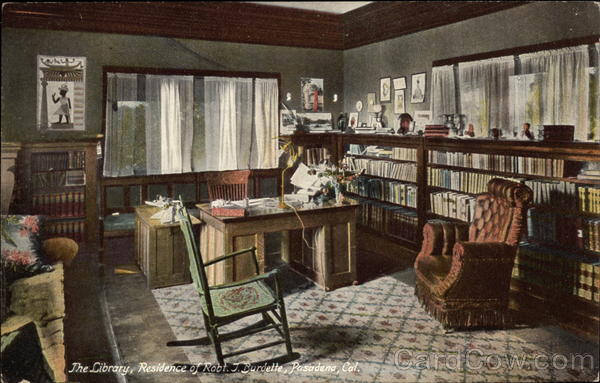 The Library, Residence of Robt. T. Burdette Passadena California
