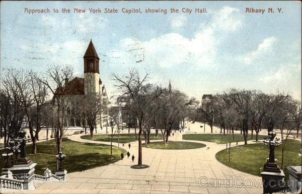 Approach to the New York State Capitol, showing the City Hall Albany