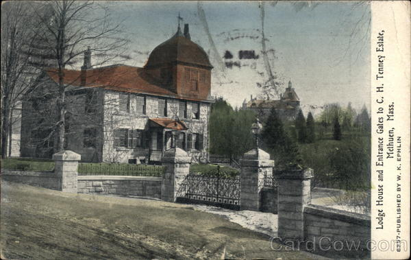 Lodge House and Entrance Gates to C.H. Tenney Estate Melhuen Massachusetts