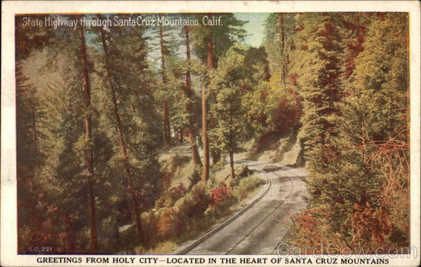 State Highway through Santa Cruz Mountains California