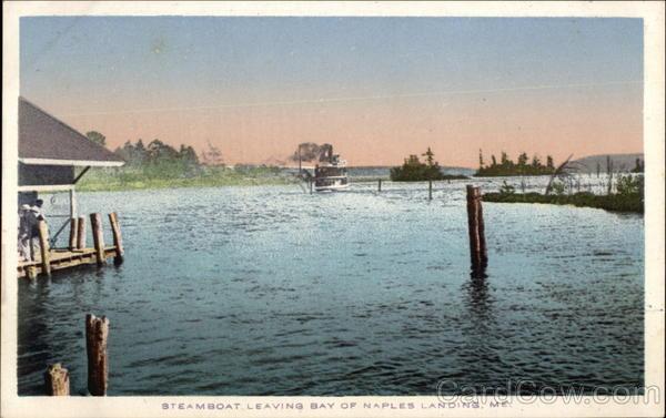 Steamboat Leaving Bay of Naples Landing Maine