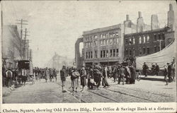Square with Odd Fellows Bldg., Post Office & Savings Bank Postcard