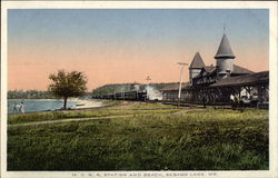 M.C.R.R. Station and Beach Postcard