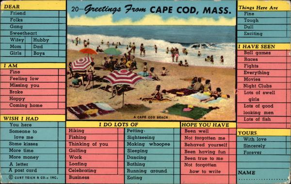 Greetings From Cape Cod, Mass Massachusetts
