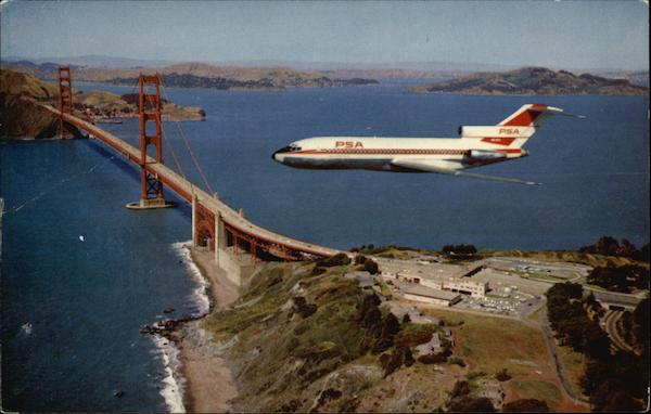 Flying With PSA - The Nation's Leading Intra-State Airline - Over The Golden Gate Bridge San Francisco