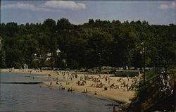 Bathing and Sunning at Beautiful Weirs Beach Postcard