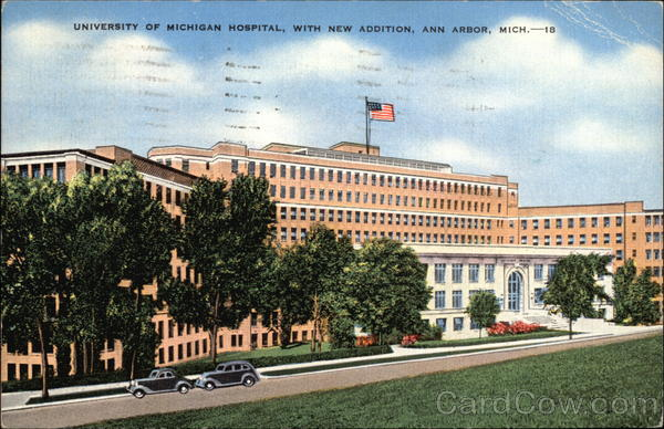 University of Michigan Hospital, With New Addition Ann Arbor