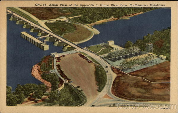 Aerial View of the Approach to Grand River Dam Oklahoma