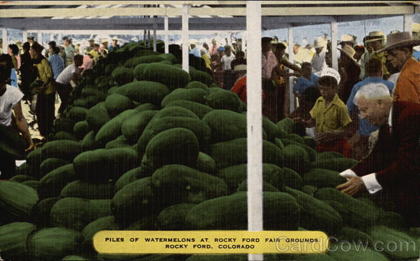 Piles of Watermelons at Rocky Ford Fair Grounds Colorado