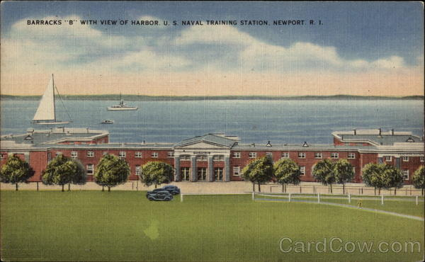 U.S. Naval Training Station - Barracks B with View of Harbor Newport Rhode Island