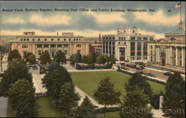Rodney Square showing Post Office and Public Building Wilmington Delaware