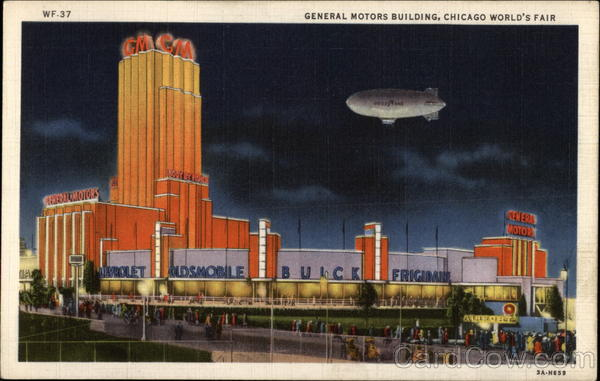 General Motors Building By Night 1933 Chicago World Fair