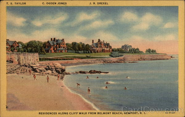Residences along Cliff Walk from Belmont Beach Newport Rhode Island