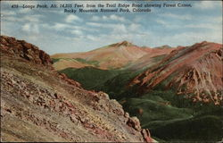 Longs Peak, Alt. 14,255 Feet, from the Trail Ridge Road showing Forest Canon
