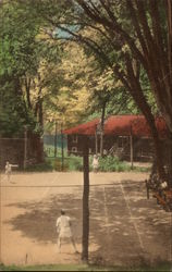 Ted Hilton's Elm Camp - The Lodge Tennis Court Postcard