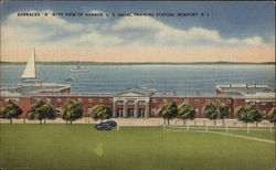 U.S. Naval Training Station - Barracks B with View of Harbor