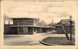 Baron's Motel - 81 Highway - Downtown Postcard