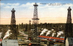 Producing Oil Wells on famous Signal Hill Postcard