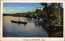 Canoeing on Lake; Greetings from Postcard