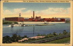 View on Allegheny River, showing Aluminum Company of America Plant Postcard