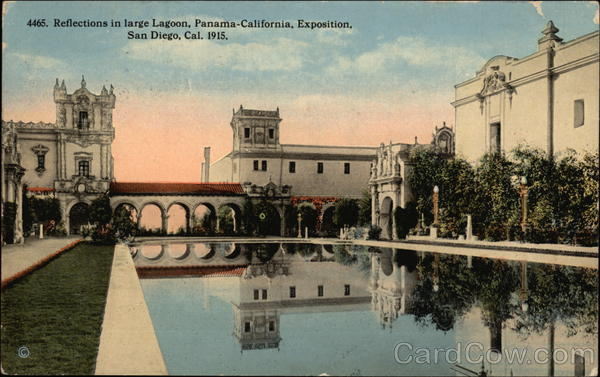Reflections in large Lagoon, Panama-California Exposition San Diego