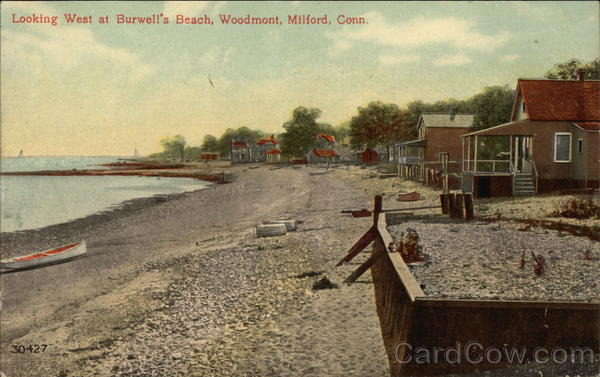Looking West at Burwell's Beach, Woodmont Milford Connecticut