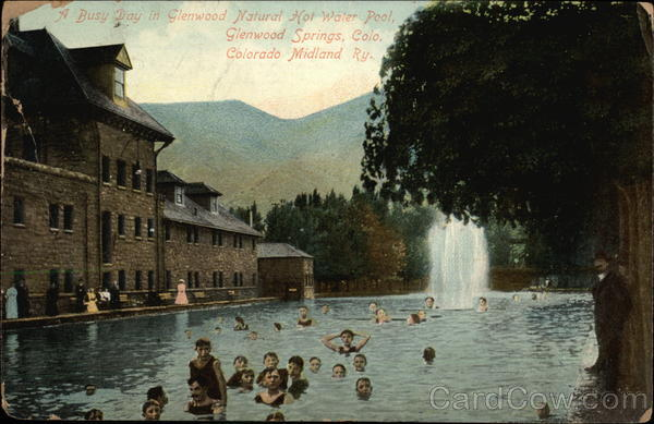 A Busy Day in Glenwood Natural Hot Water Pool Glenwood Springs Colorado