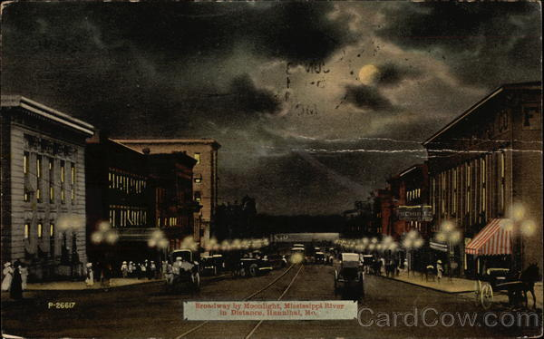 Broadway by Moonlight, Mississippi River in Distance Hannibal Missouri