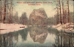 Winter and Relection Showing Castle Rock Columbia River Postcard