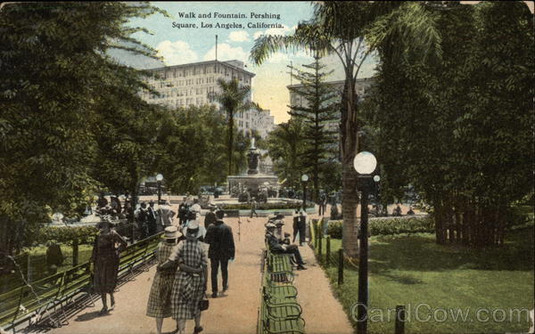 Walk and Fountain, Pershing Square Los Angeles California