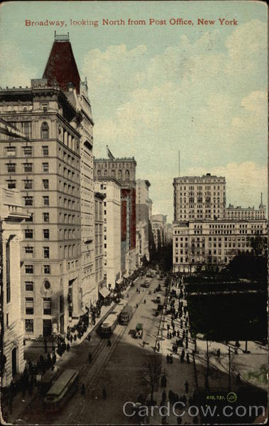 Broadway, looking north from Post Office New York