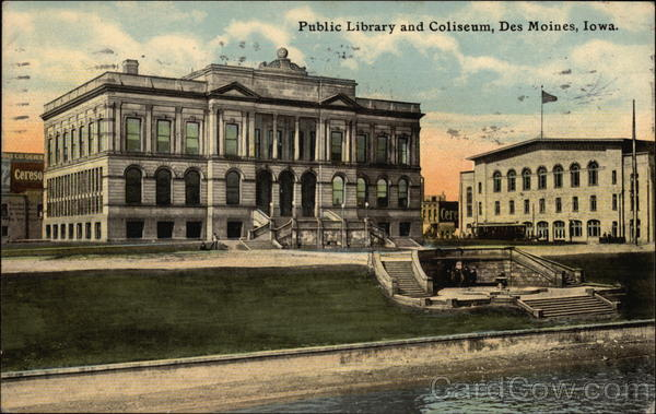 Public Library and Coliseum Des Moines Iowa