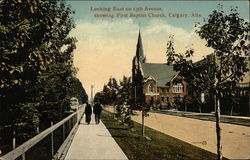 Looking East on 13th Avenue, showiing First Baptist Church